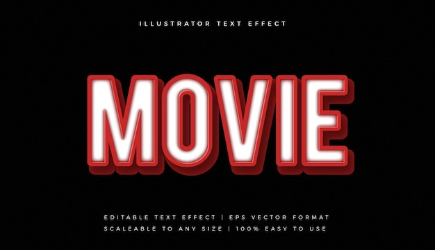 Red movie text style font effect