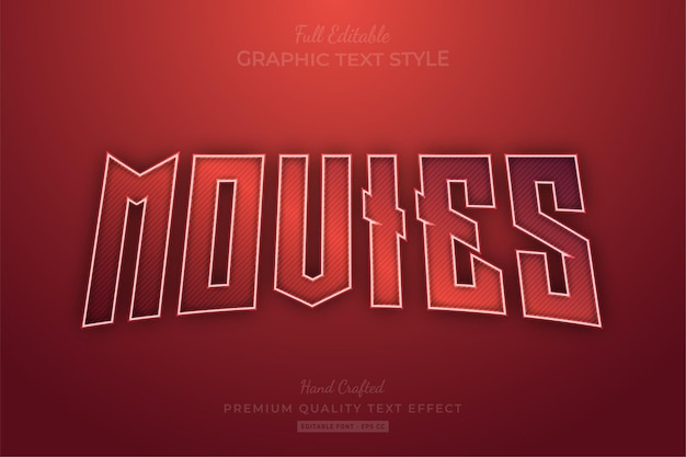 Red movies editable text effect font style