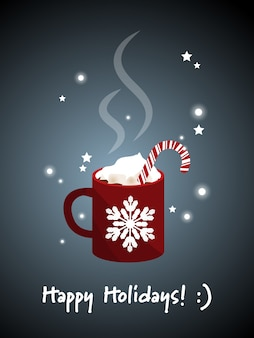Red mug of hot chocolate and Happy Holiday text