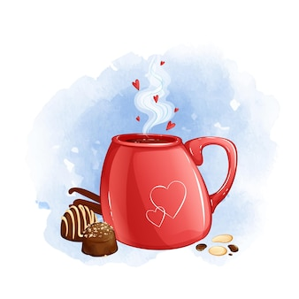 Red mug with hot drink and chocolates. watercolor background.