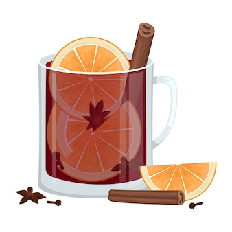 Red mulled wine in a cup with orange slices, cinnamon, cloves and a tub. winter alcoholic drink.  illustration.