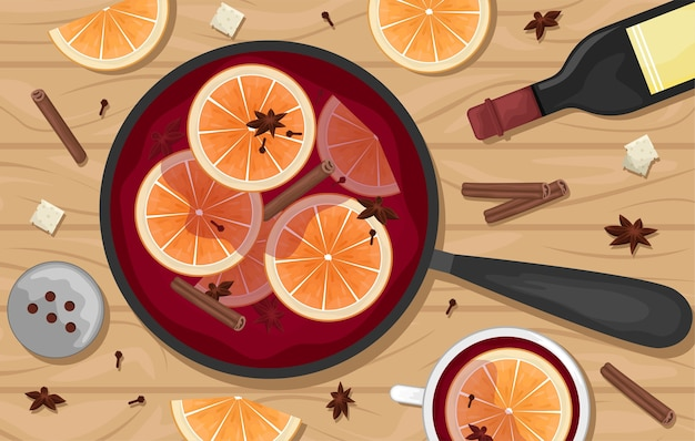 Red mulled wine in a pot with orange slices, cinnamon, cloves and a bucket. white mugs of mulled wine.  lay. flat  illustration.