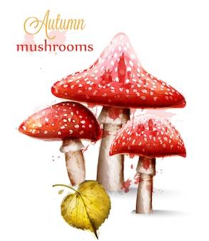 Красные грибы акварель