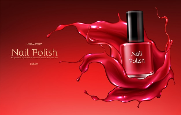 Red nail polish 3d realistic vector advertising banner with glass bottle in glossy