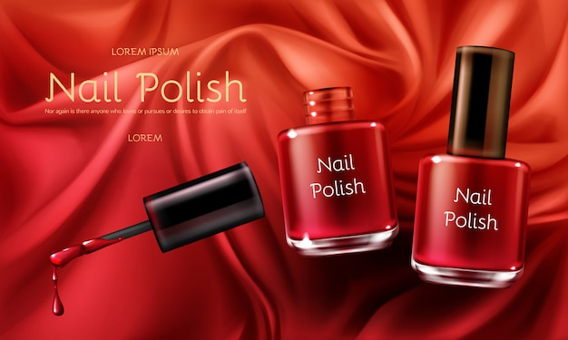 Red nail polish 3d realistic vector cosmetic ads banner