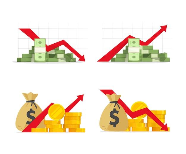 경제 위기가 떨어지고 금전 수입 또는 이익 판매로 빨간색 마이너스 금융주가 하락