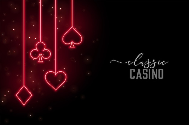 Red neon casino symbols background