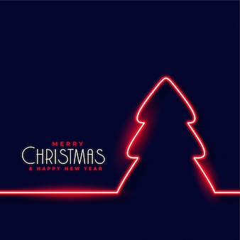 Red neon christmas tree background