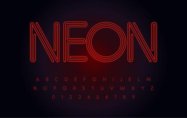 赤いネオンフォント光るチューブの文字と数字は、アウトライン輪郭アルファベット現代のナイトライフタイプを設定します