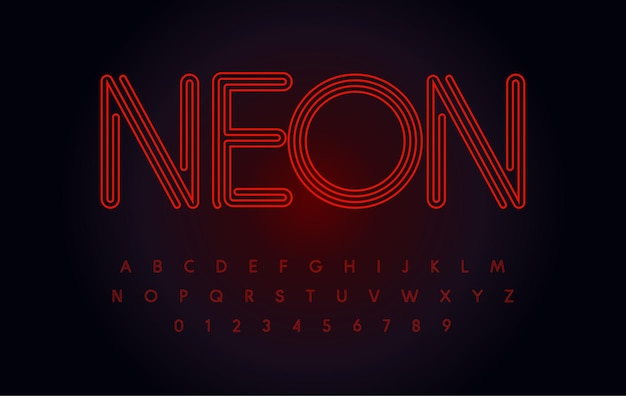 Red neon font glowing tube letters and numbers set outline contour alphabet modern night life type