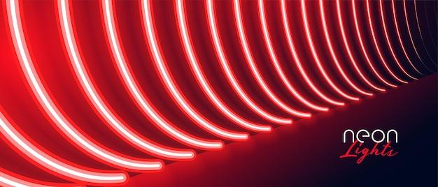 붉은 네온 통로 바닥 조명 효과