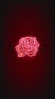 Красная неоновая роза фон мобильного телефона