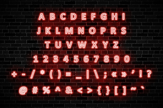 Red neon signs capital letters, numbers and symbols on dark brick wall