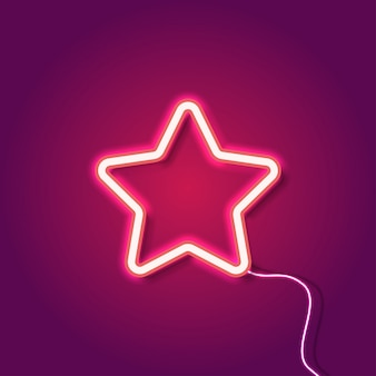 Red neon star on purple background