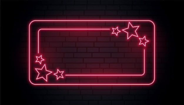Red neon stars frame with text space