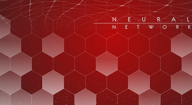 Red neural network illustration