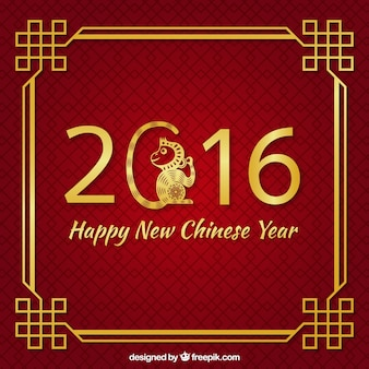 Red new chinese year background with golden decoration