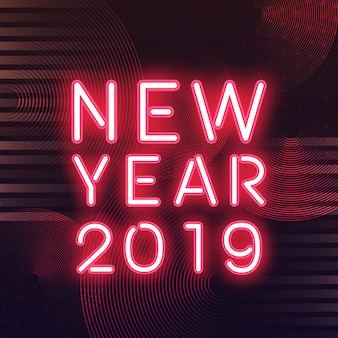 Red new year 2019 neon sign
