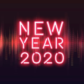 Red new year 2020 neon sign vector