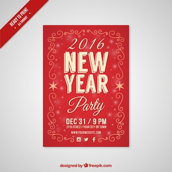 Red new year party flyer 2016