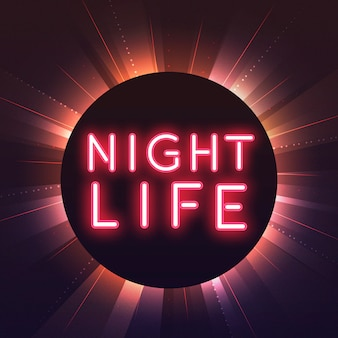 Red nightlife neon sign vector