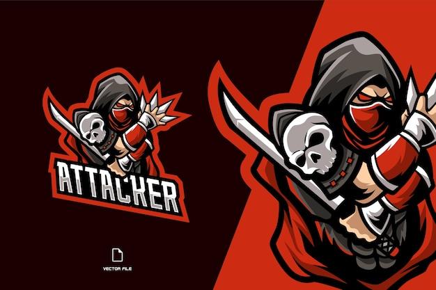スポーツゲームチームイラストテンプレートの赤い忍者マスコットeスポーツロゴ