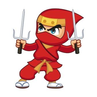 Red ninja with trisula