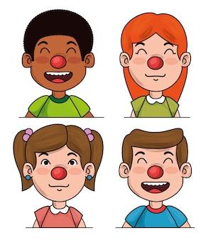 Дети с красным носом с красным носом