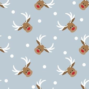 스노우 플레이크 원활한 패턴으로 빨간 코 사슴
