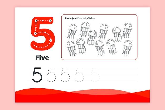 Foglio di lavoro numero cinque rosso