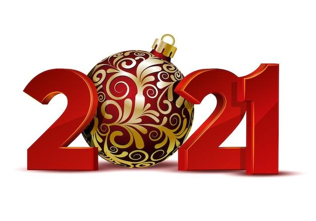 빨간색 크리스마스 볼 인사말 카드의 빨간색 숫자 디자인