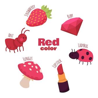 빨간색 개체와 어휘 단어 세트