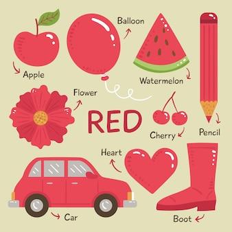 Oggetti rossi e raccolta di parole del vocabolario