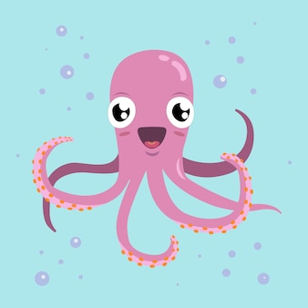 Red octopus cartoon character.