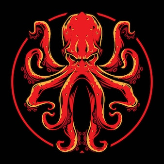 Red octopus vector