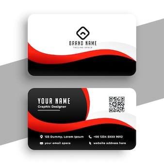 Red office business card  template