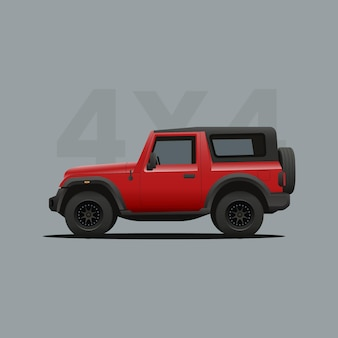 Red offroad suv jeep vehicle
