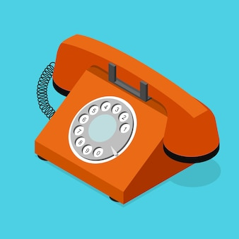 Red old phone isometric view with rotary dial Premium Vector