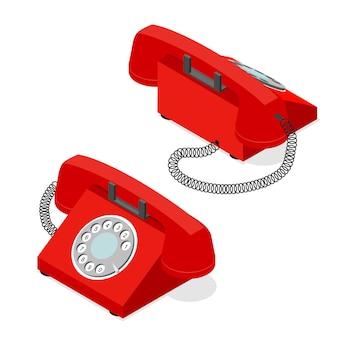 回転式ダイヤル付きの赤い古い電話セットのアイソメビュー。サポートとサービスのシンボル Premiumベクター