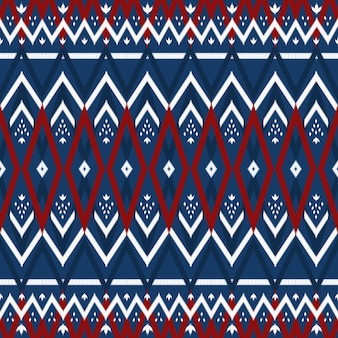 ネイビーブルーに赤アジアンエスニック幾何学オリエンタルイカットシームレス伝統的なパターン。背景、カーペット、壁紙の背景、衣類、ラッピング、バティック、ファブリックのデザイン。刺繡スタイル。ベクター