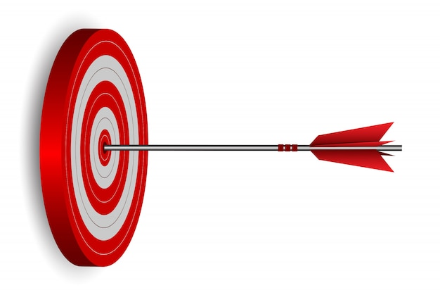 Red one arrows darts in target circle illustration