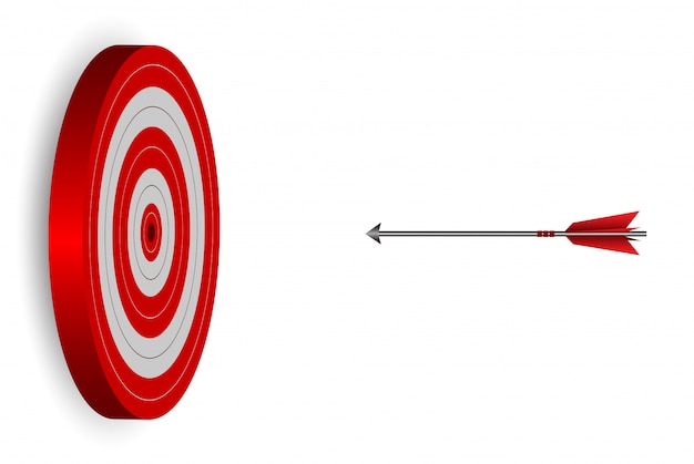 Red one arrows darts in target circle