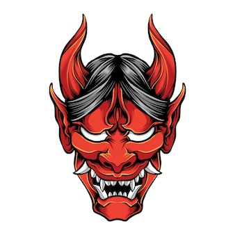 Red oni mask isolated on white
