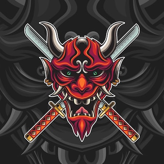 Red oni mask with katana illustration