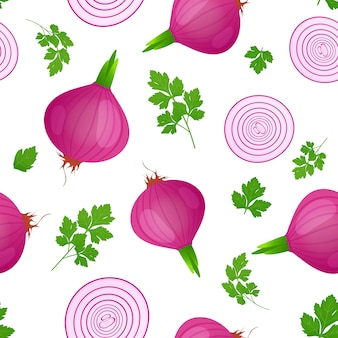 Red onion bulb with green sprout and slice isolated on white background. ripe onion with parsley leaves. seamless pattern.