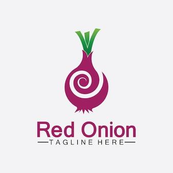 Red onion logo vector icon illustration design template