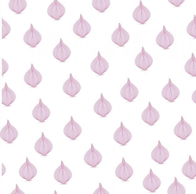 Red onion summer market seamless pattern