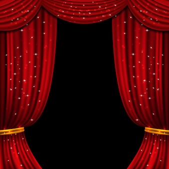 Red open curtain with glittering lights. background