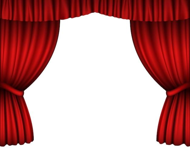 白で隔離の赤いオープンカーテン