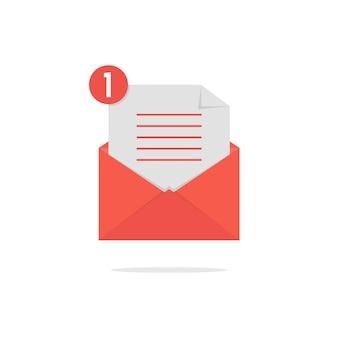 チェックリストと影付きの赤い開いた封筒。ニュースレターのコンセプト、通知、サポート、受信、確認。白い背景で隔離。フラットスタイルトレンドモダンなロゴデザインベクトルイラスト